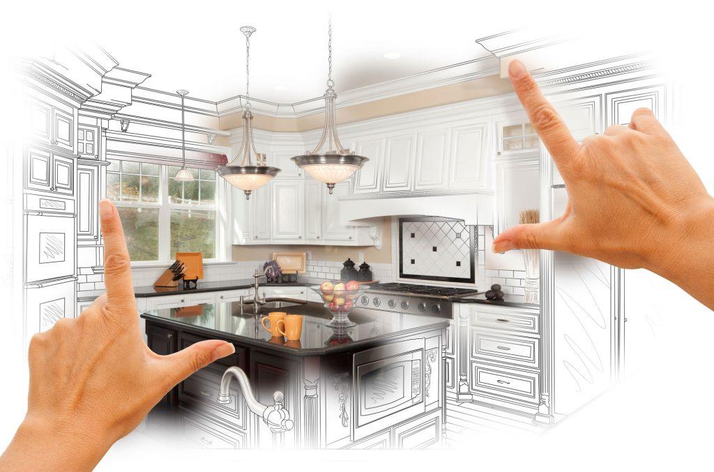 digital drawing of kitchen renovation