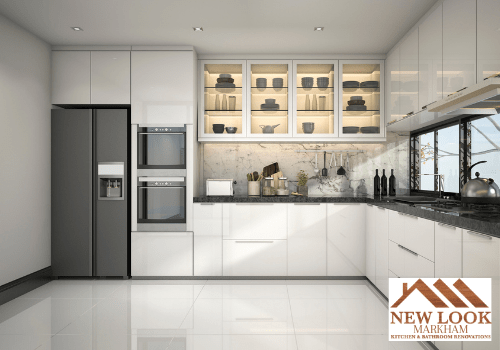 White laminate kitchen cabinets with stainless steel appliances