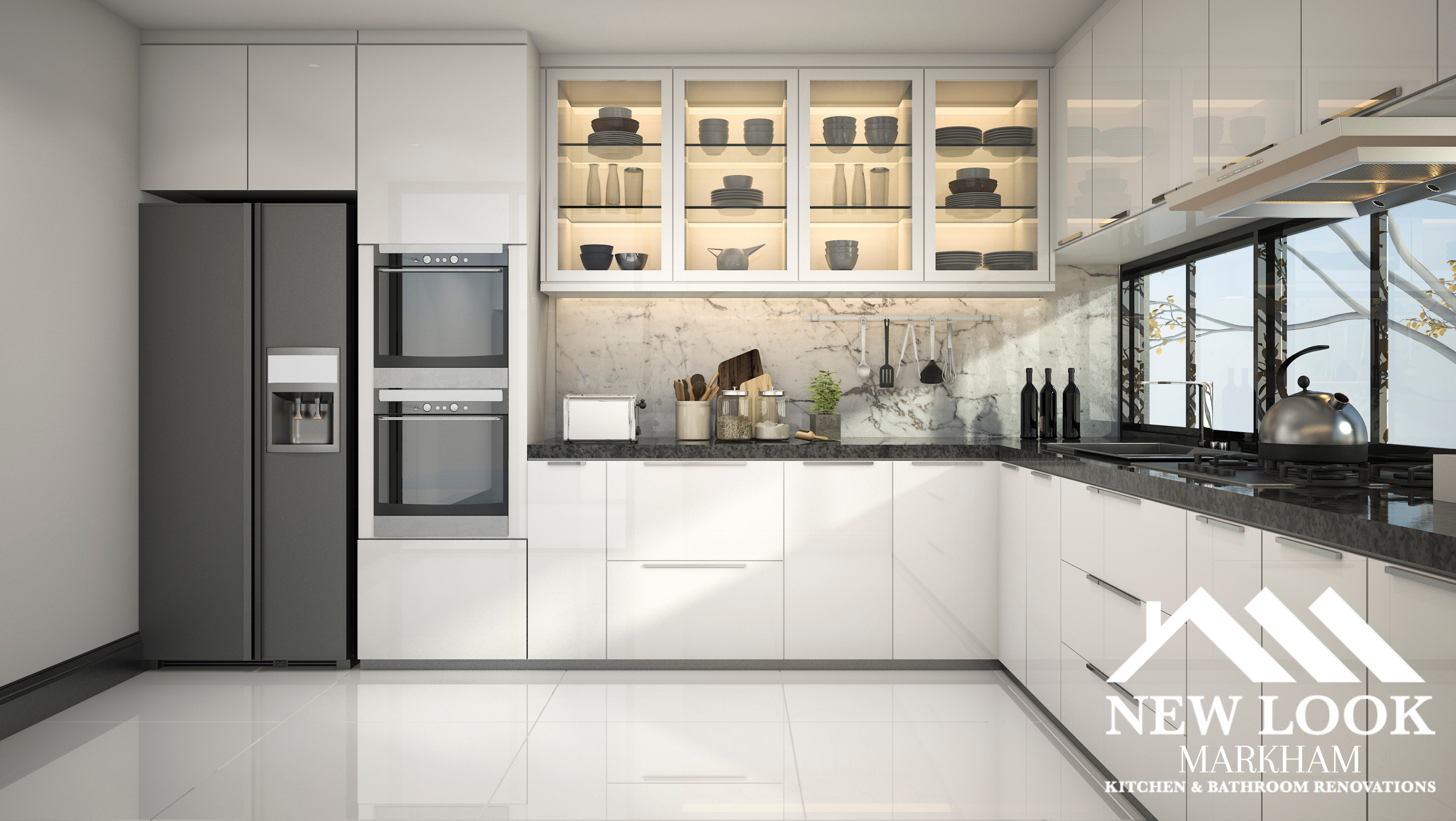 image of a modern white kitchen with grey ceramic bowls