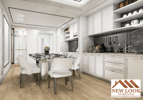 Classy kitchen with glass dining room table, white leather chairs, and white maple wood kitchen cabinets.